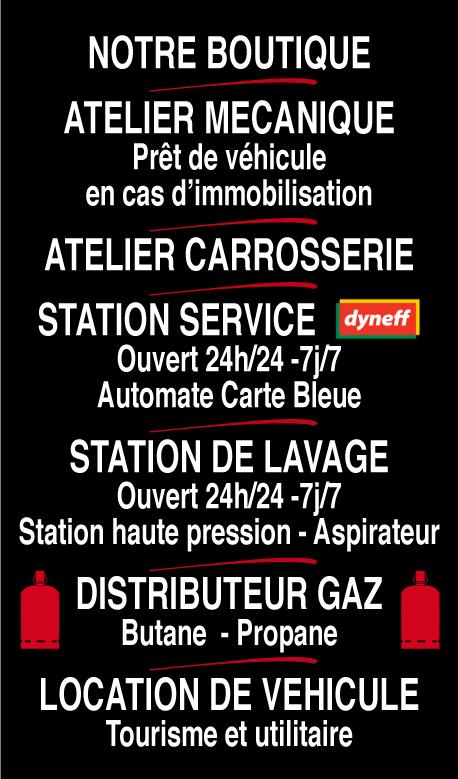 notre boutique-acceuil-attelier mécanique-atelier carrosserie-station service-station de lavage-distributeur gaz-location de véhicule-saint laurent auto-aude